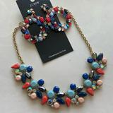 J. Crew Jewelry   Jcrew Multicolor Rhinestone Necklace-Earring Set   Color: Gold/Pink   Size: Os