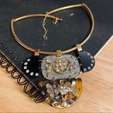 J. Crew Jewelry | Dazzle! J. Crew Jeweled Enamel Pendant Necklace | Color: Gold/Silver | Size: Os
