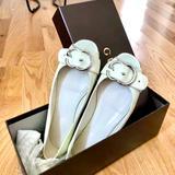 Gucci Shoes   Gucci Salandia Peep-Toe Flat, Mystic White   Color: White   Size: 6.5