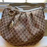 Gucci Bags   Gucci Beige Monogram Canvas Shoulder Bag   Color: Brown/Cream   Size: 15 Across 12 Inches High 3 Inches Wide