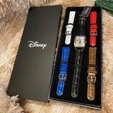 Disney Accessories | Disney Accutime Mickey Mouse + 5 Leather Bands | Color: Black/Red | Size: Rectangular