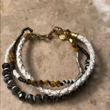 J. Crew Jewelry | Jcrew 3 Tier Bracelet Leather Glass Crystal | Color: Gold/Silver | Size: 6 Inches