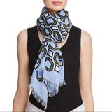 Tory Burch Accessories   New Tory Burch Octagon Linen Oblong Scarf, Wrap   Color: Blue/Green   Size: Os