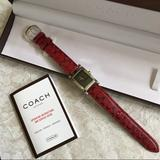 Coach Accessories | Coach Red Leather Watch In Box | Color: Black/Red | Size: Os