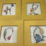 Disney Accents   Disney Winnie The Pooh Pictures (4) Yellow Frames   Color: Yellow   Size: 6.75 X 6.75 X .75
