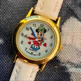 Disney Accessories | Disney Minnie Mouse Leather Girl Watch | Color: Red/White | Size: Osg