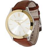 Michael Kors Accessories | Michael Kors Slim Runway Silver Dial Ladies Watch | Color: Brown/Gold | Size: Os