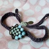 American Eagle Outfitters Jewelry | Charming Braided Bracelet With Crystal Beads | Color: Blue/Green | Size: 7-9