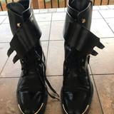 Louis Vuitton Shoes | Authentic Louis Vuitton Combat Boots Size 37 | Color: Black | Size: 7.5