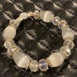 Anthropologie Jewelry | Gorgeous Silver Cats Eye Crystal Bead Bracelet | Color: Silver/White | Size: Os