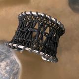 Anthropologie Jewelry   Braided Black Leather Cuff Bracelet Boho Macrame   Color: Black/Silver   Size: Os