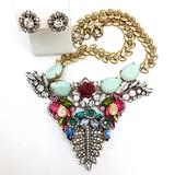 J. Crew Jewelry   J Crew Multi Crystal Necklace And Stud Set Rare   Color: Gold/Pink   Size: Os
