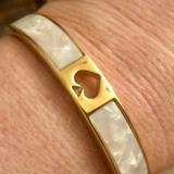 Kate Spade Jewelry | Kate Spade Hole Punch Spade 10mm Hinged Bangle R | Color: Gold/White | Size: Os