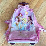 Disney Other | Disney Princess Rolling Backpack Luggage | Color: Gold/Pink | Size: Osg