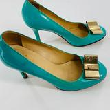 Kate Spade Shoes | Kate Spade Blue Bow Accent Pumps Stiletto Heels | Color: Green | Size: 7.5