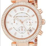 Michael Kors Jewelry   Michael Kors Rose Gold Stainless Steel Watch   Color: Gold/Red/Tan/White   Size: Links Can Be Removed For A Better Fit