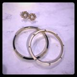 J. Crew Jewelry | Earnings And J.Crew Enamel Bangles | Color: Black/White | Size: Os