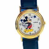 Disney Accessories | Mickey Mouse Watch Stars Disney Wristwatch Vtg Mcm | Color: Black/Red | Size: Os