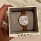 Michael Kors Accessories | New Micheal Kors Pyper W Diamond Accents Watch | Color: Gold/Tan | Size: Os