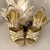 Coach Shoes | Coach | Wedge Espadrille Sandals | Gold Metallic 6 | Color: Gold | Size: 6