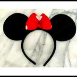 Disney Accessories | Disney Minnie Ears Plush Headband Black Wred Bow | Color: Black/Red | Size: Osg