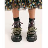 Free People Shoes | Free People Black Leather Combat Hiking Boots | Color: Black/White | Size: 7