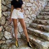 Zara Shoes | Lastzara Leather Mules Bloggers Favorite | Color: Black/Yellow | Size: Various