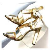 Michael Kors Shoes | Michael Kors Gold Strappy Platform Heeled Sandals | Color: Gold | Size: 7.5