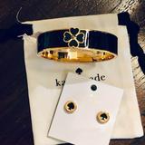 Kate Spade Jewelry | Nwt~Kate Spade Set~Spade Studs+Floral Spade Bangle | Color: Black/Gold | Size: Set-Studs+Bangle
