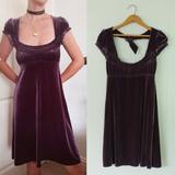 Free People Dresses | Free People Dress | Purple Velvet Babydoll Dress | Color: Purple | Size: S