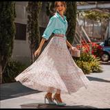 Zara Skirts | Floral Print Skirt | Color: Pink/White | Size: L