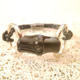 Gucci Jewelry | Gucci Blacksilver Bamboo Leather Bracelet | Color: Black/Silver | Size: 7.5 Inch