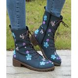 PAOTMBU Women's Casual boots BLUE - Blue Floral-Embroidered Boot - Women