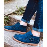 LoLa Shoes Women's Casual boots Blue - Blue Leather Buckle-Accent Moccasin Ankle Boot - Women