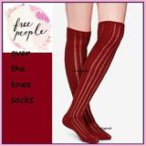 Free People Accessories | Free People Over Knee Socks Thigh High Pointelle | Color: Cream/Red | Size: Various