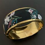 Kate Spade Jewelry   Kate Spade Floral Fabric Cuff Bracelet   Color: Black/Gold   Size: Os