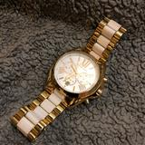 Michael Kors Jewelry   Michael Kors Gold And White Ceramic Watch   Color: Gold/White   Size: 6.5 Wrist