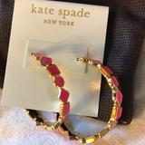 Kate Spade Jewelry | Kate Spade 14k Gold Hoop Earrings | Color: Pink | Size: Os