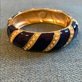 J. Crew Jewelry | Jcrew Enamel Bangle With Magnetic Closure | Color: Blue/Gold | Size: Os