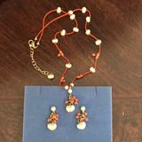 Kate Spade Accessories | Kate Spade Corrals Necklace And Earrings | Color: Orange/White | Size: Osg