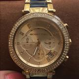 Michael Kors Accessories | Michael Kors Womens Goldtone Parker Watch | Color: Blue/Gold | Size: Os