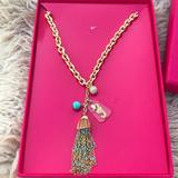 Lilly Pulitzer Jewelry | Lilly Pulitzer Amazing Necklace New In Box | Color: Blue/Gold | Size: The Necklace Is 18 Inches Long