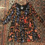 Free People Dresses | Free People Trapeze Babydoll Dress Henley Dress | Color: Black/Red | Size: Xs