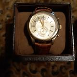 Michael Kors Accessories | Michael Kors Men'S Watch With Brown Leather Band | Color: Brown | Size: Os