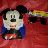 Disney Accessories   Mickey Mouse Hat And Sunglasses   Color: Black/Red   Size: Osb