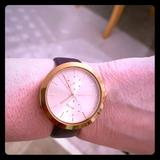 Michael Kors Jewelry | Michael Kors Rose Gold Watch Plum Leather Band. | Color: Purple | Size: 9.5 In End To End