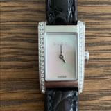 Gucci Accessories | Gucci 8600 L Diamond Leather Watch Mother Of Pearl | Color: Black/Silver | Size: Os