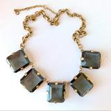 J. Crew Jewelry   J. Crew Antiqued Bronze Glass Large Blue Necklace   Color: Blue/Gold   Size: Os