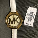 Michael Kors Accessories | Michael Kors Runway Champagne White Leather Watch | Color: Gold/White | Size: Os