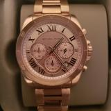 Michael Kors Accessories | Michael Kors 'Brecken' Chronograph Rose-Tone Watch | Color: Gold/Red | Size: Os